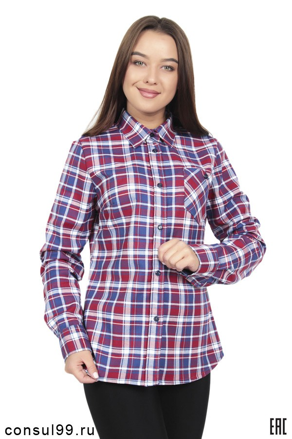 4c56d256524 Женская утепленная рубашка в клетку длинный рукав РЖУ-01 купить в ...