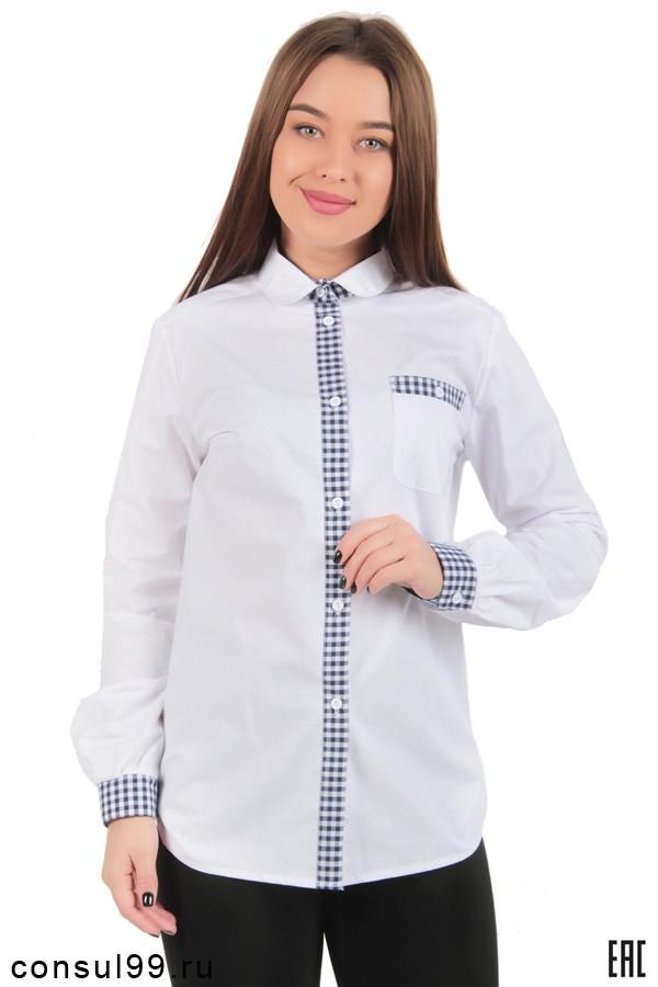 291aea1a4a4 Женская рубашка белая с отделкой длинный рукав в интернет магазине за 740  руб.