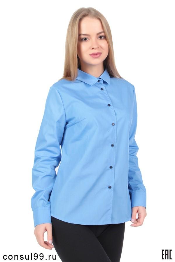 c6ff226e6e8 Голубая рубашка женская корпоративная длинный рукав РК-ЖГ в интернет  магазине за 900 руб.